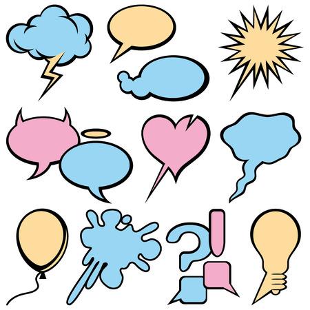Empty Emotional Text Bubbles Set. Vector Illustration Vector