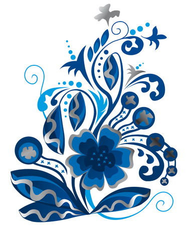 silver background: Blue and Silver floral background