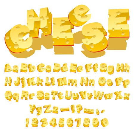 Cheese decorative letters (Typecase) on white background  Illustration