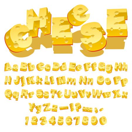 queso blanco: Letras decorativas de queso (Typecase) sobre fondo blanco