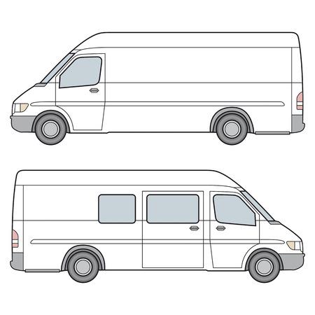minibus: Side View of whire minibus