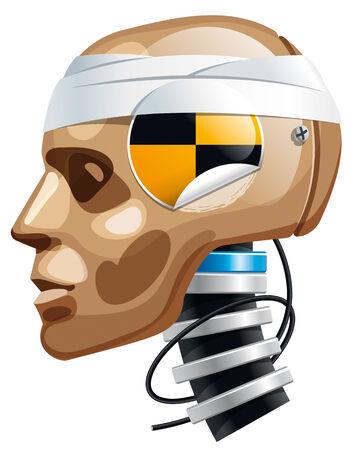 Crash test dummy man head