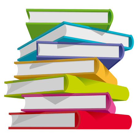 library book: Stack of multicolor books