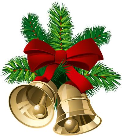 Campanas de Navidad con cinta roja y pino ramitas. Ilustración vectorial