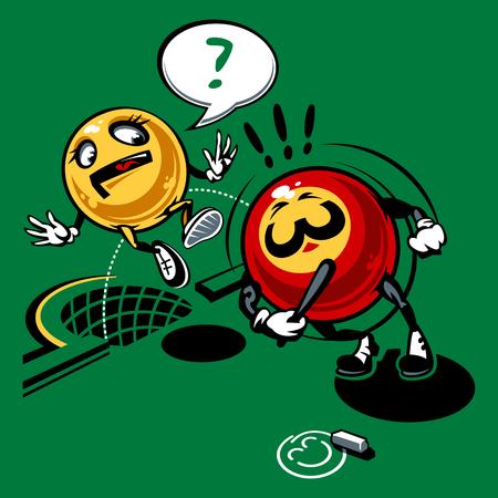prisoner ball: Billiards balls. Comics drawing. Illustration