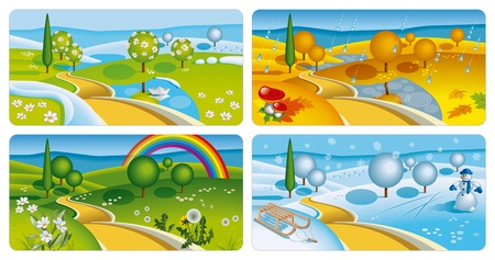 snow fall: Set of four seasons banners. Vector Illustration