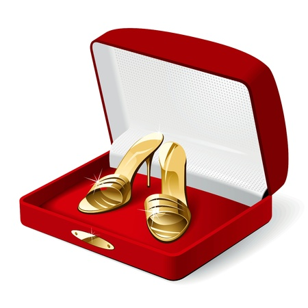 Gold woman shoes in the red present box. Vector Illustration  Vector
