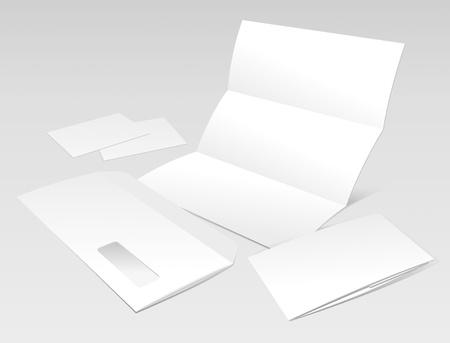 folded: Blank Letter, Envelope, Business cards and booklet template. Vector Illustration  Illustration