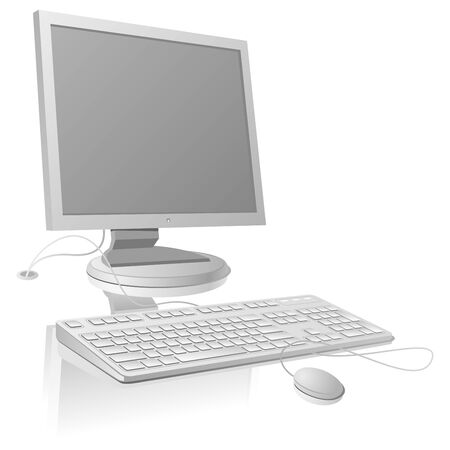 LCD monitor and keyboard template. Vector Illustration