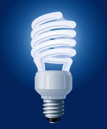 fluorescent light: Compact Fluorescent CFL Lamp. Vector Illustration (EPS v. 8.0)