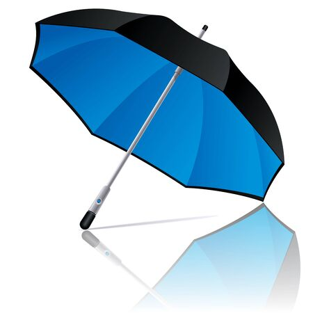 Open black and blue colors umbrella on white background. Vector illustration Vector