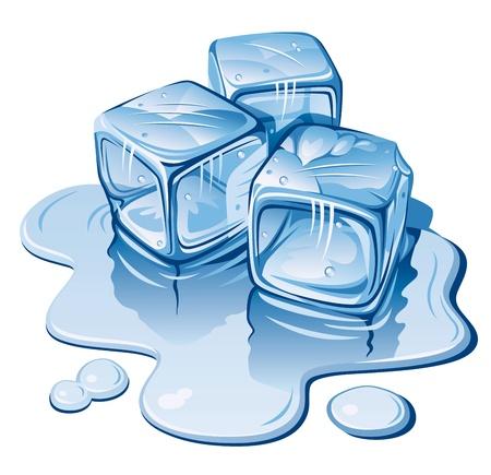 cubetti di ghiaccio: Cubetti di ghiaccio stilizzato su sfondo bianco. Illustrazione vettoriale Vettoriali