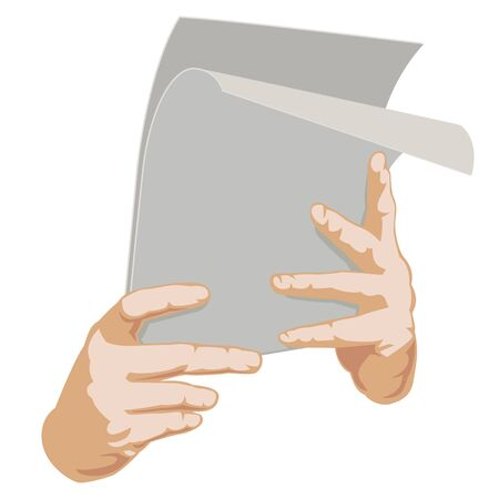 Two hands with paper. Vector Illustration Vector