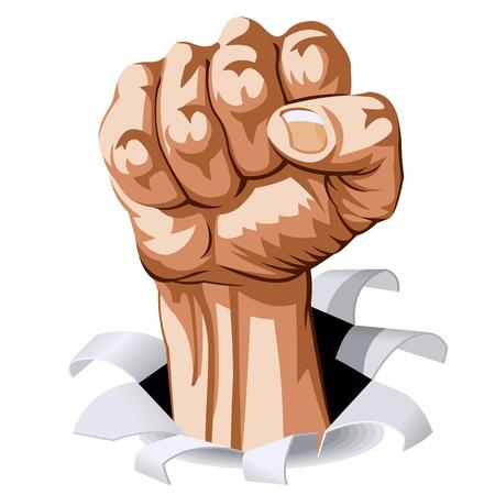 revolt: Struggle Hand break through white background. Vector Illustration