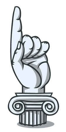 Monument of pointing finger. Comics drawing Illustration