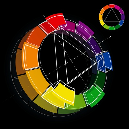 tertiary: Three dimensional color wheel on black background. Vector Illustration