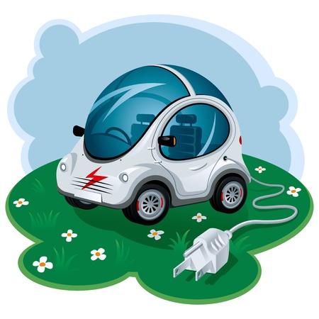 autom�vil caricatura: Coche de energ�a verde. Ilustraci�n vectorial