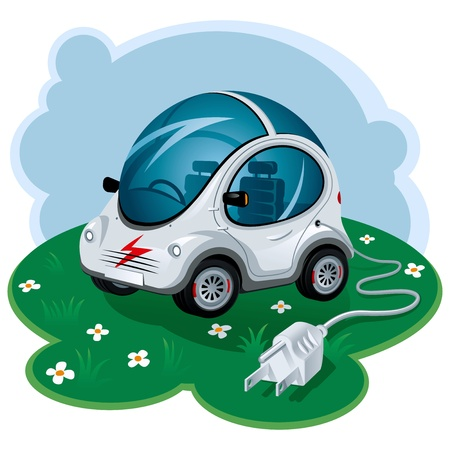 cartoon land: Green Energy Car. Vector Illustration Illustration