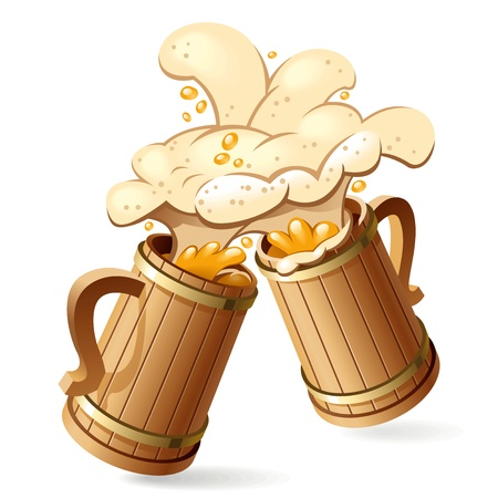 Two wooden beer mugs with foam splash. Vector Illustration
