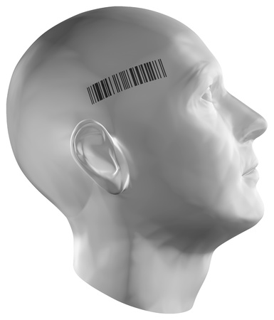 3D render of a human head with barcode stamp on white background.  Stock Photo