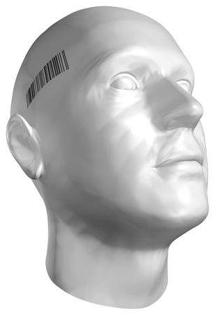 supervision: 3D render of a human head with barcode stamp on white background. With clipping path