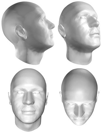 head set: Set of four views of a human head at different angles on white background.   3D render Stock Photo
