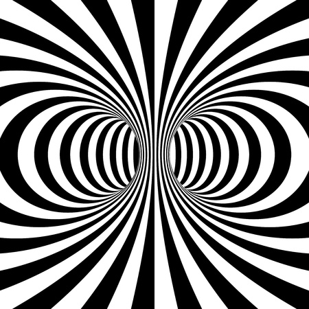 psychodelic: Black and white stripes projection on torus. Vector illustration