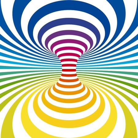 hypnotique: Projection de rayures arc-en-ciel sur tore. Illustration vectorielle