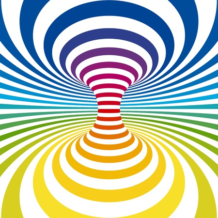 hypnotic: Rainbow stripes projection on torus. Vector illustration Illustration