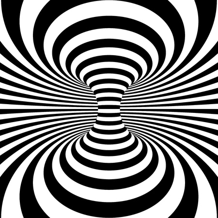 psycho: Black and white stripes projection on torus. Vector illustration