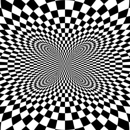 psycho: Black and white squares projection on torus. Vector illustration