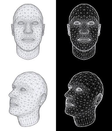Conjunto de dos vistas de la estructura metálica de una cabeza humana en diferentes ángulos sobre fondo blanco y negro. Ilustración vectorial Ilustración de vector
