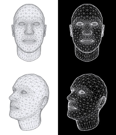 wireframe: Set of two wireframe views of a human head at different angles on white and black background. Vector Illustration