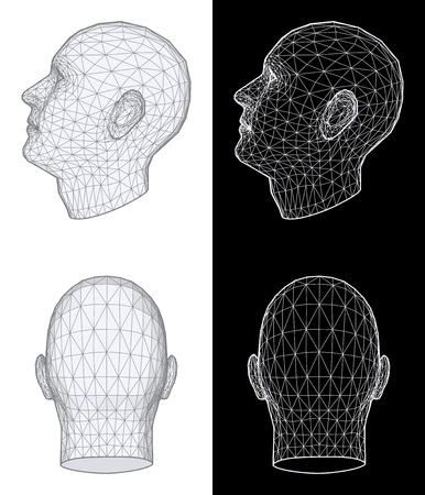man face profile: Conjunto de dos vistas de la estructura met�lica de una cabeza humana en diferentes �ngulos sobre fondo blanco y negro. Ilustraci�n vectorial