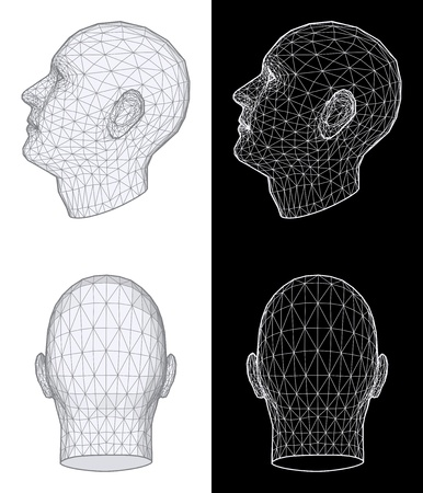 back of head: Set of two wireframe views of a human head at different angles on white and black background. Vector Illustration