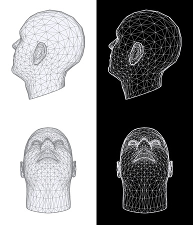 construction mesh: Set of two wireframe views of a human head at different angles on white and black background. Vector Illustration
