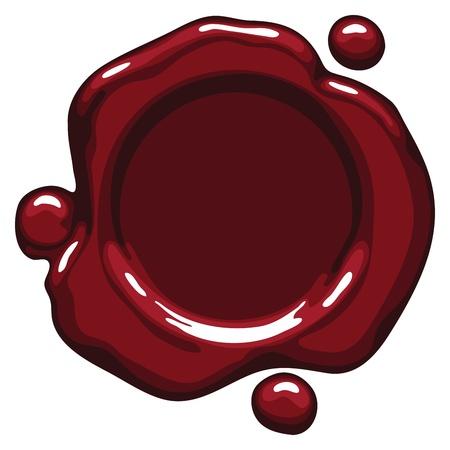 Scuro sigillo di cera rossa su sfondo bianco. Vector illustration