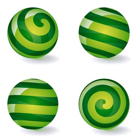 Conjunto de iconos de esféricas rayas transparentes. Ilustración vectorial
