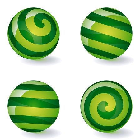spinning: Set of transparent striped spheric icons. Vector Illustration