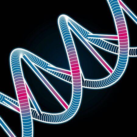 Glowing DNA Symbol on black background. Vector Illustration Vector