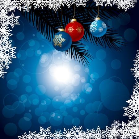 fir twig: Winter background. Illustration