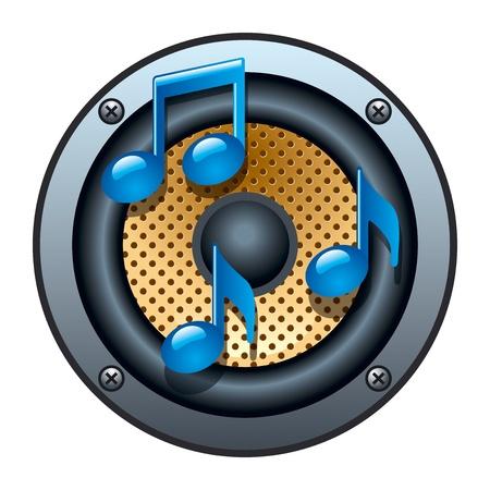 note musicali: Icona Altoparlante audio con note musicali su sfondo bianco. illustrazione Vettoriali
