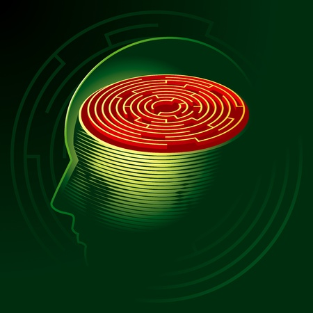 brain mysteries: Labyrinth Mind. Human head psychology symbol. Illustration