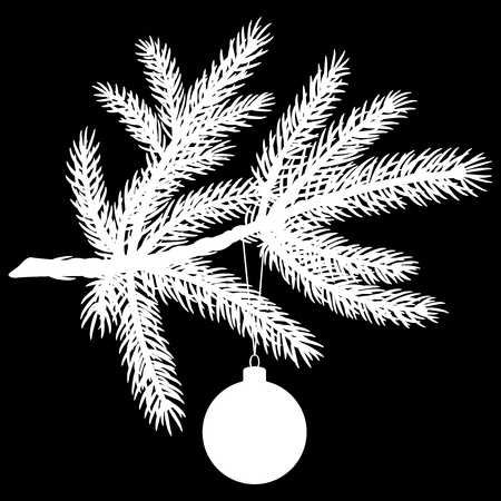 Silhouette of Pine tree branch with Christmas ball on black background. Vector Illustration Vector