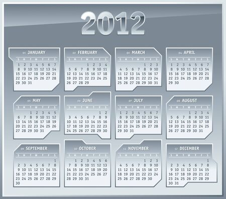2012 Calendar grid Template. Silver Metallic plates Design Vector