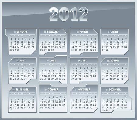 2012 Calendar grid Template. Silver Metallic plates Design Stock Vector - 11658446