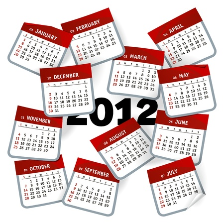 Unusual calendar template represented as months pages whirlwind Vector