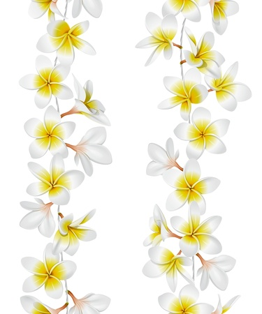 flowers close up: Tropical necklace seamless border. Vector Illustration