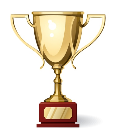 award trophy: Front view of gold sport cup on white background. Vector Illustration Illustration
