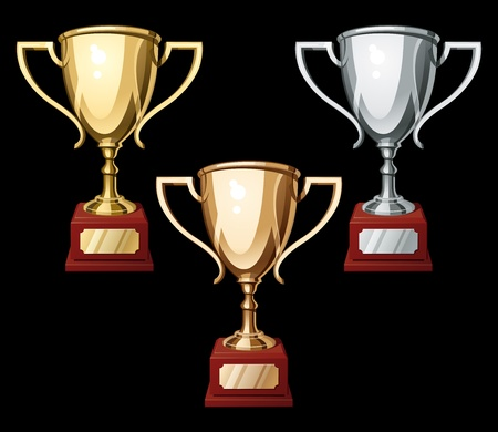 award winning: Set of gold, silver and bronze sport cups on black background. Vector Illustration